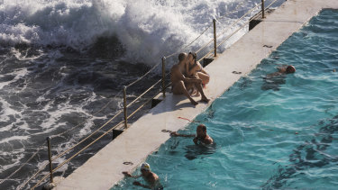 Swimmers cool off at Bondi Icebergs on Friday.