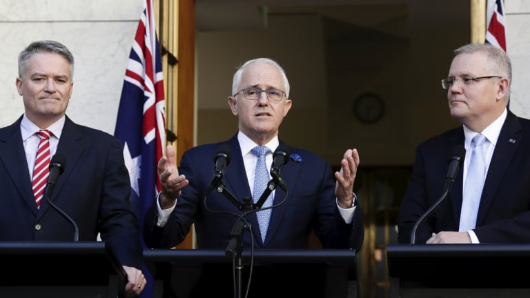 Prime Minister Malcolm Turnbull, Minister for Finance Mathias Cormann and Treasurer Scott Morrison
