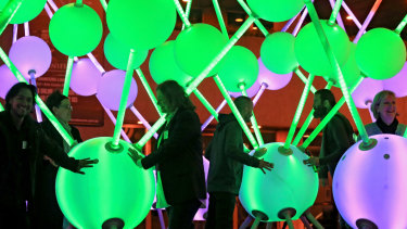 Affinity, a massive, interactive light sculpture representing neurons in the brain is seen on the forecourt of the Arts Centre in Melbourne in 2015. The sculpture was commissioned by Alzheimer's Australia.