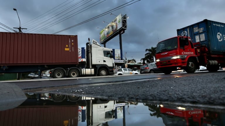 A container terminal at Newcastle could help reduce the number of trucks on Sydney's roads.