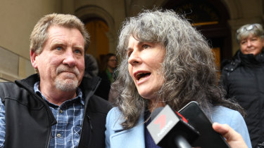 Chrissie Foster and Rob Walsh, advocates for abuse survivors, leave the Victorian Supreme Court.