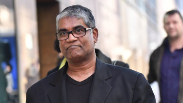 Roger Singaravelu outside court, following an earlier appearance by the woman charged with stabbing him, Momena Shoma.