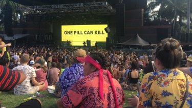 The FOMO Festival crowd at Brisbane's Riverstage were warned about the dangers of taking drugs.