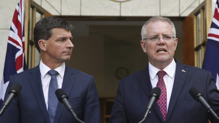 Minister for Energy Angus Taylor and Prime Minister Scott Morrison on Tuesday.