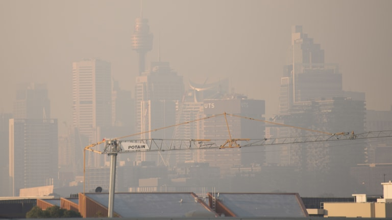 Smoky Sydney: There were 34 bushfires burning across NSW on Friday.