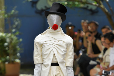 A model walks the runway during Paris Fashion Week in June 2019.
