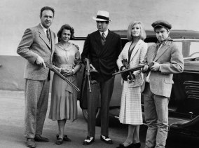 From left, actors Gene Hackman as Buck Barrow, Estelle Parsons as Blanche Barrow, Warren Beatty as Clyde Barrow, Faye Dunaway as Bonnie Parker and Michael J. Pollard as C. W. Moss in  'Bonnie and Clyde', 1967.