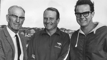 Marathon swimmer Des Renford (centre) with coach Tom Caddy (left) and handler Ken Ryder before his English Channel crossing in 1970.