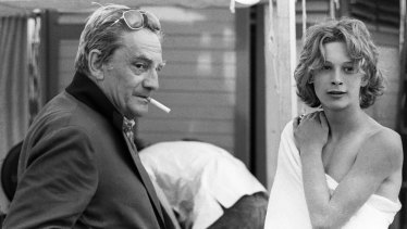 Luchino Visconti and Bjorn Andresen during filming for <i>Death in Venice</i>.