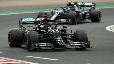 Lewis Hamilton driving the (44) Mercedes.