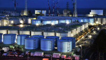 Tanks containing contaminated water that has been treated at the Fukushima nuclear plant in Okuma town, Fukushima prefecture, northeastern Japan.