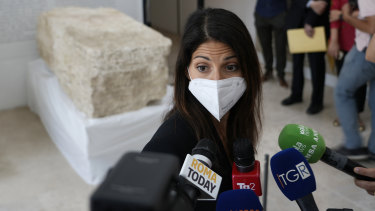 Rome's Mayor Virginia Raggi, answers questions, during the presentation of the archeological finding at a Mausoleum in Rome.