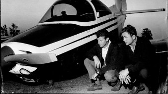 Pilot Keith Fitton, left, after an emergency landing in Cronulla in 1969.