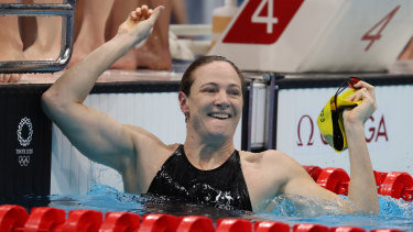 Cate Campbell after anchoring Australia to a gold medal in the  100m freestyle relay in Tokyo.