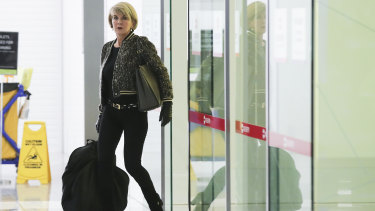 Foreign Affairs Minister Julie Bishop arrives at Canberra Airport on Sunday night.