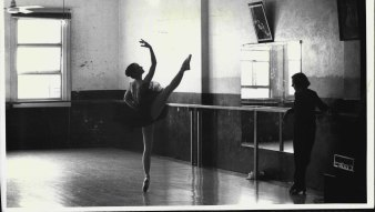 Rachel Broomham, 17, and Joan Halliday at the Joan Halliday School of Dance in Haymarket in 1984.