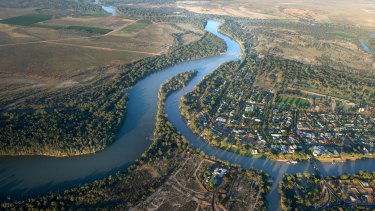 Junction of the Murray and Darling rivers at Wentworth, NSW.