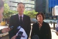 Coast and Country spokesman Derec Davies and EDO CEO Jo Bragg speak to media outside the Supreme Court in 2018.