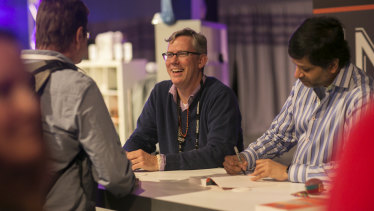 Brian Halligan (L) with Hubspot co-founder Dharmesh Shah at the Hubspot Inbound conference.