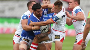 Andrew Fifita in action for Cronulla's feeder club Newtown against the Dragons in round one.