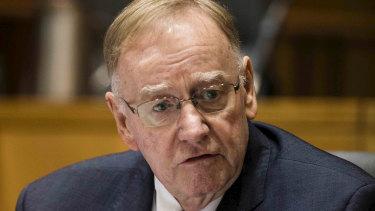 Ian MacDonald addresses a Senate Estimates hearing in Canberra on Monday.