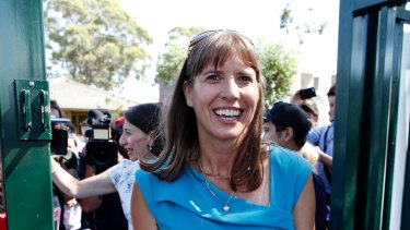 Premier Gladys Berejiklian trails Wendy Lindsay as they campaign together in East Hills.
