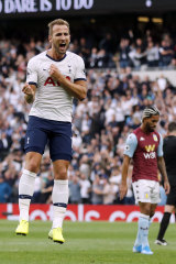 Business as usual: Tottenham's Harry Kane celebrates after scoring his side's third goal at the Tottenham Hotspur stadium.