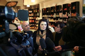 Marlene Kairouz with her parents on the day she was elected to Parliament in 2008.