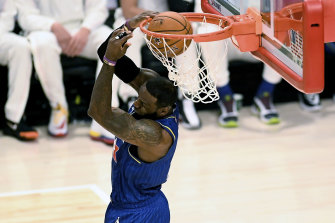 LeBron James dunks during the 69th NBA All-Star Game.