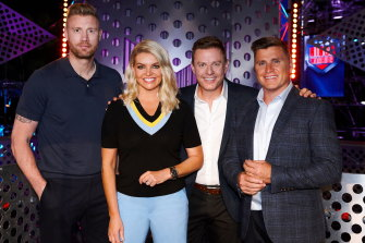 Ninja Warrior hosts Freddie Flintoff, Rebecca Maddern, Ben Fordham and Shane Crawford.