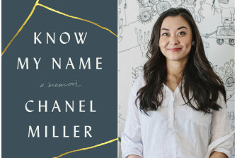 Chanel Miller with the front cover of her bestselling memoir.