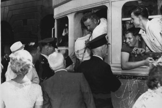 End of an era: passengers cram into the last tram to La Perouse on February 25, 1961.
