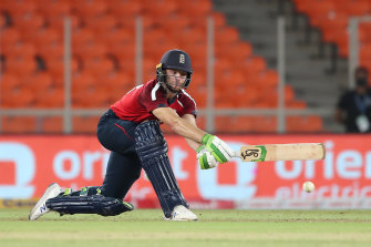 England's Jos Buttler hit a superb 83 not out in the third T20 of the series in India.