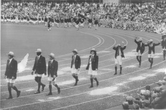Bermuda takes part in the opening ceremony before announcing they would boycott the Games.