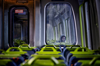 A nearly empty train during what would have normally been peak hour in April.
