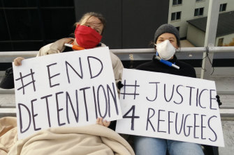 Refugee activists on the roof of the Mantra hotel in Preston on Tuesday.
