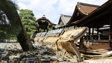 A wall of Minami Noh Butai of Nishi Honganji temple, a world heritage site, is damaged by Jebi.