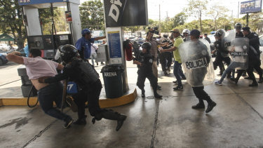 Nicaragua's government banned opposition protests in September and police broke up Saturday's attempt at a demonstration to pressure the government to release hundreds of protesters held in custody since 2018.