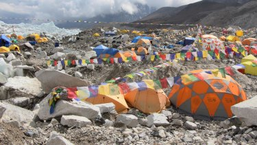Tents set up on a glacier at a base camp of Mt Everest in Nepal.