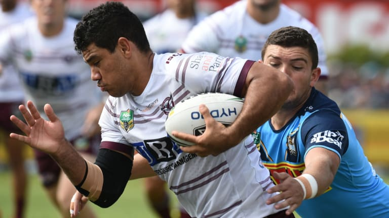 On the hunt: The Tigers are chasing Sea Eagles centre Brian Kelly.