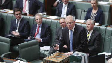Prime Minister Scott Morrison during question time at Parliament House in Canberra on Monday.