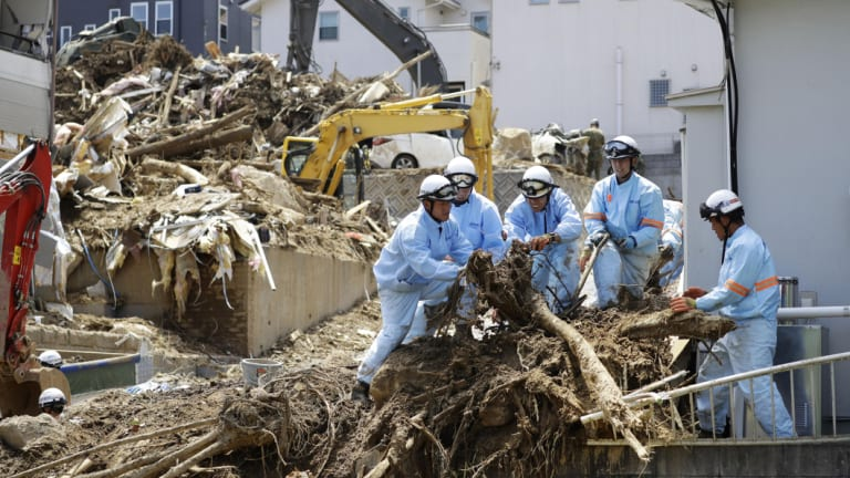 Heavy rain last week triggered widespread flooding and landslides in southwestern Japan.