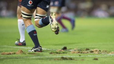 The SCG surface was below-par on Saturday evening during the NSW Waratahs and Queensland Reds Super Rugby match.