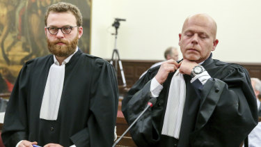 Lawyers for the accused Romain Delcoigne, left, and Sven Mary.