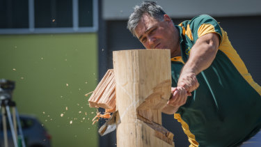 Due to overwhelming community feedback, wood chopping will return to the Royal Canberra Show in 2019. Pictured is local wood chopper Andrew Halliday.