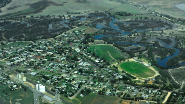 Jeparit, by the Wimmera River, pictured from above after heavy rains in 2011.