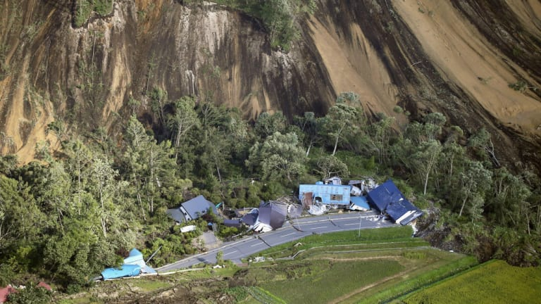 Houses destroyed by a landslide after an earthquake in Atsuma town, Hokkaido.
