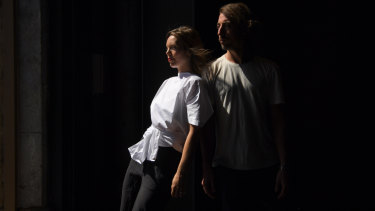 Amber Haines (left) and Kyle Page (right) co-directors of the Sydney Festival contemporary dance production, Dust.
