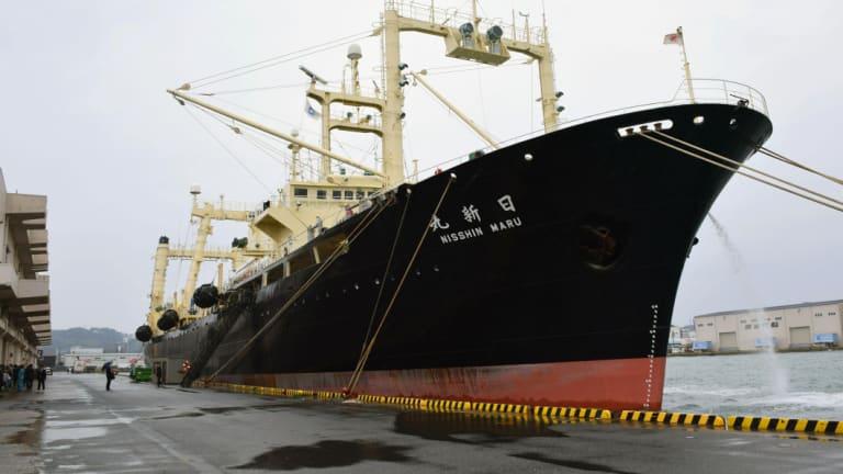 Japanese whaling vessel Nisshin Maru is anchored in Shimonoseki, western Japan, in 2017.