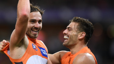 Jeremy Finlayson (left) has been dropped by the Giants for the game against Richmond.